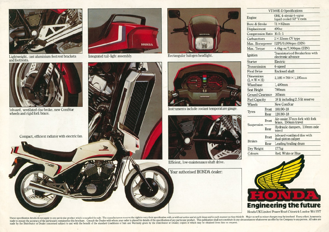 Honda Vt500 Sales Brochures 1983 Shadow 500cc